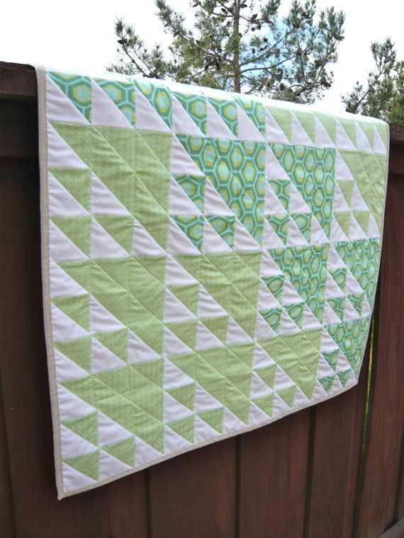 Gender Neutral Modern Baby Quilt by TheSpottedLamb on Etsy