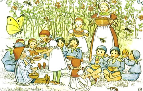 """""""As a child Elsa Beskow would spend hours drawing trees and flowers in spring and summer, and she was nicknamed 'Princess' by her siblings. She gained a wide knowledge of plants and flowers, and her illustrations as an adult retained a child's pure and wondrous view of nature.""""  Illustration from Swedish children's book, Elsa Beskow, Peter in Blueberry Land"""