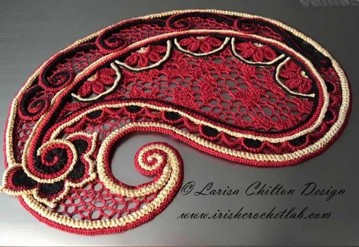 Paisley. Modern Irish Crochet Lace. Pattern is available at: http://www.irishcrochetlab.com/#!product/prd3/4485244951/paisley.-irish-crochet