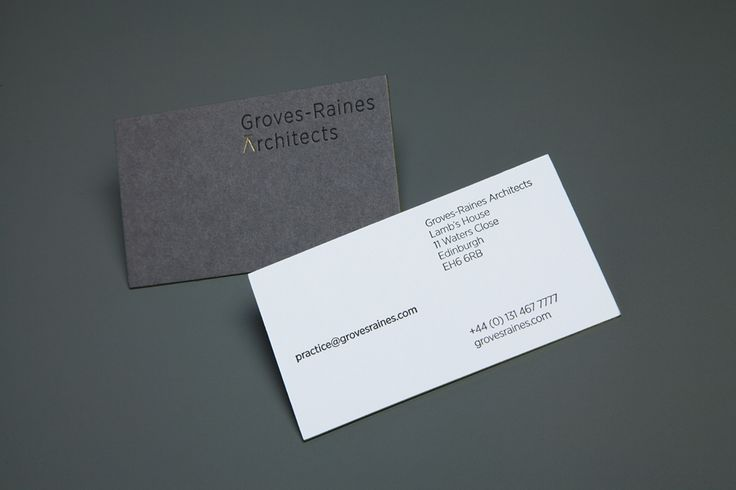Business card design with gold detail by Graphical House for Edinburgh based Groves-Raines Architects: