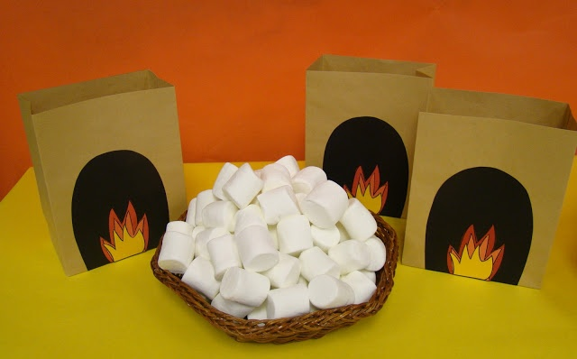 SMORE PARTY. There is S'more to Learn this Summer. Year-End Party theme with Minute-to-Win-It game. Players have one minute to throw as many marshmallows as possible to a partner who must catch them in the paper bag campfire.