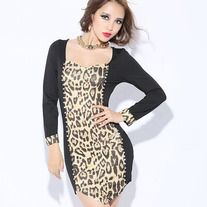 his dress is in fashion European style with rivets decoration, leopard patchwork design, slim package hip hem, low cut square collar and long sleeves. It is soft and comfortable to wear. It can show your personality perfectly. It is a perfect option for you, act now.   Features: * Leopard pat...
