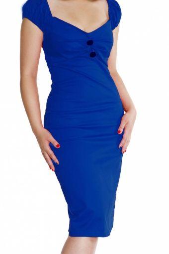 Collectif Clothing - COLLECTIF 50s Dolores dress Royal blue retro jurk koningsblauw