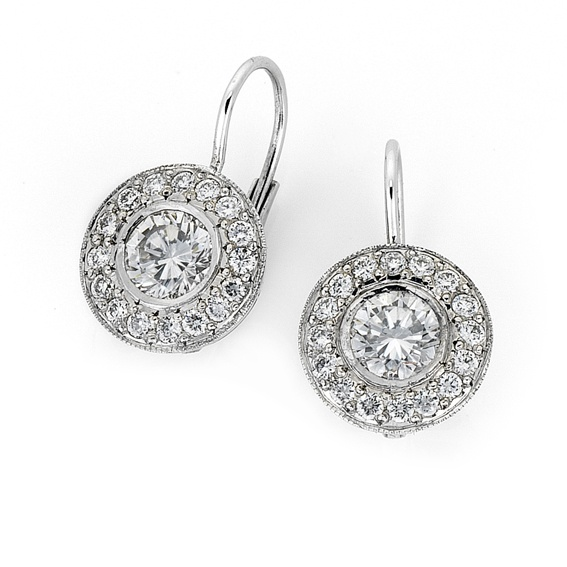 'Halo' diamond earrings with continental fittings