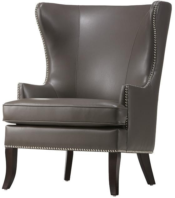 Delightful Home Decorators Moore Wingback Chair   Grey Pebble Bonded Leather