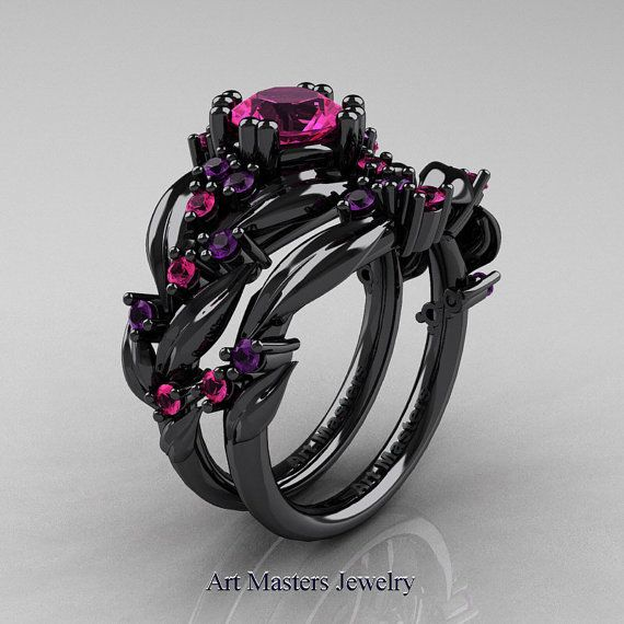 nature classic 14k black gold 10 ct pink sapphire amethyst leaf and vine engagement ring wedding - Goth Wedding Rings