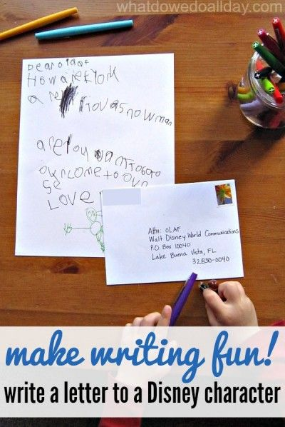 Perfect for reluctant writers! Get a return postcard from Disney, too!