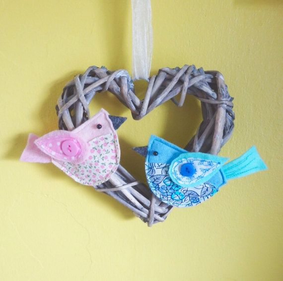 Girls bedroom bird decoration  country style hanging heart