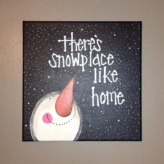 Snowman canvas on Etsy, $25.00