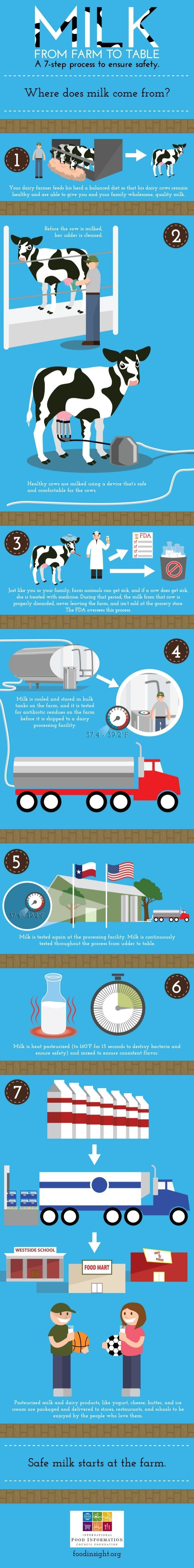 How does your milk get to you (and how do I know it's safe?) Milk production infographic  2014 by FoodInsight #dairy #DairyMonth #foodsafety