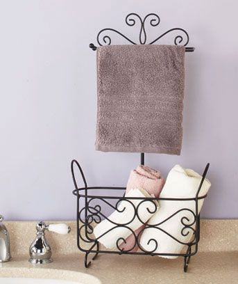 The Themed Bathroom Stand is an attractive and affordable way to organize this room's essentials. The rod at the top holds a roll of toilet paper or a couple of hand towels. Use the lower basket to store additional towels or toiletries. Durable, powder-c