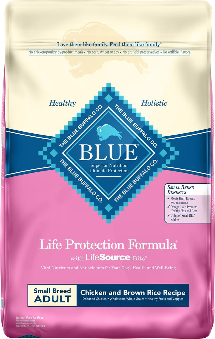 Blue Buffalo Life Protection Formula was created for the health and well-being of dogs. All formulas start with real meat, whole grains, garden veggies and fruit, plus added LifeSource Bits, a precise blend of nutrients that have been enhanced with a Super 7 package of antioxidant-rich ingredients. This Small Breed Adult Chicken & Brown Rice Recipe features delicious, protein-rich deboned chicken and is made with increased protein and carbohydrates to meet higher energy needs of smaller d...