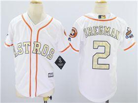 the latest e0fd3 3b36f Houston Astros #2 Alex Bregman Youth White 2018 Gold Program ...