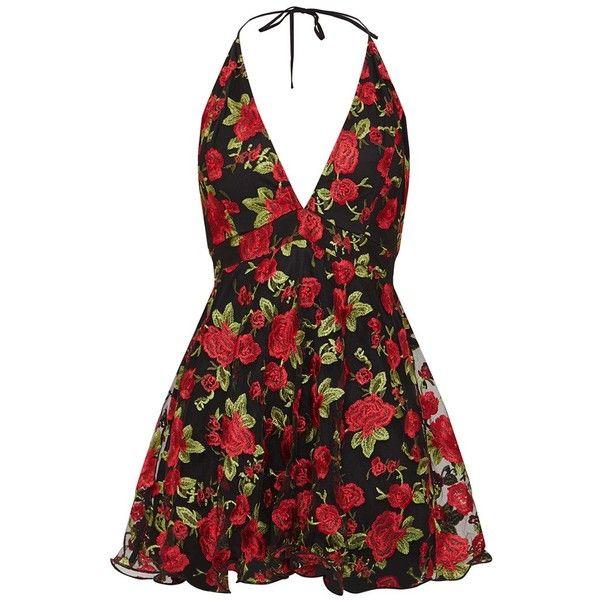 Black Floral Embroidered Halterneck Plunge Skater Dress ($83) ❤ liked on Polyvore featuring dresses, skater dresses, flower embroidered dress, halter tops, halter dresses and halter neckline dress
