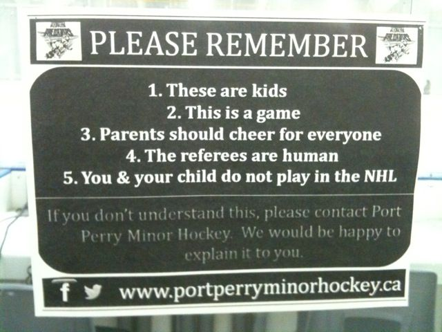 Please remember - minor hockey sign