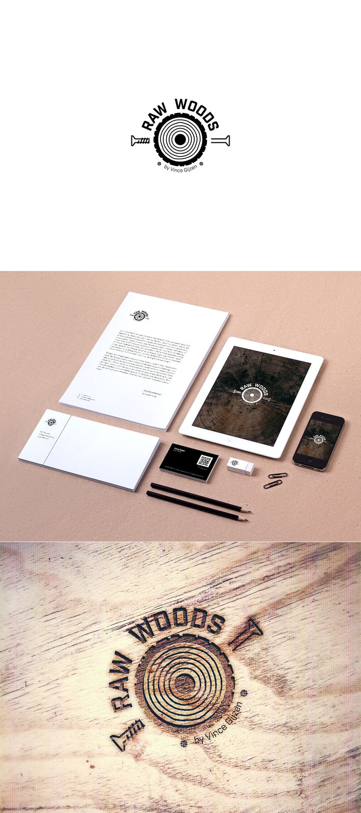 Raw Woods is a company that focuses on the production of unique art and furniture from used wood. I designed their logo, business cards and other branding.   Raw Woods own unique character shines through in everything I designed for them.