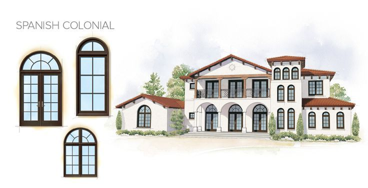 arched windows on colonial facade   Spanish Colonial Home Style Window Door Overview Andersen Windows ...