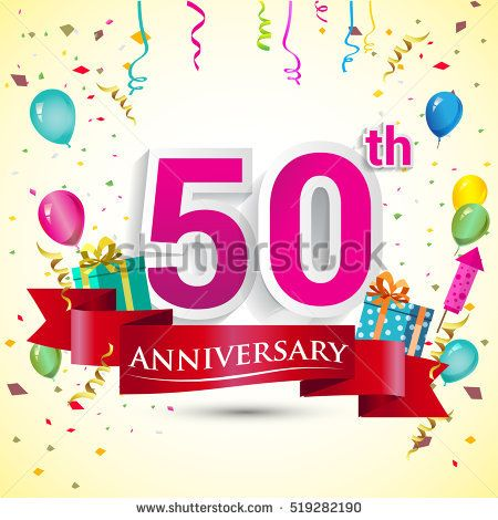 50th Years Anniversary Celebration Design, with gift box and balloons, red ribbon, Colorful Vector template elements for your birthday party.