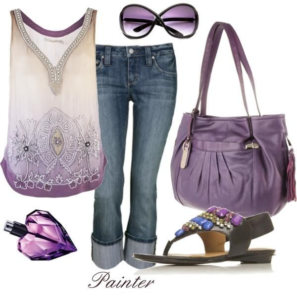 So cute!Fashion, Outfit Sets, Shades Of Purple, Summer Outfit, The Colors Purple, Clothing, Summer Style, Big Bags, Weights Loss