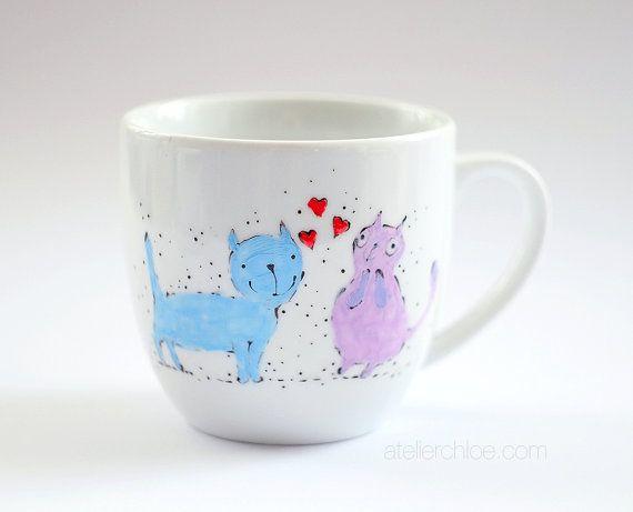Cats in love mug cute cat cup romantic coffee cup  by atelierChloe