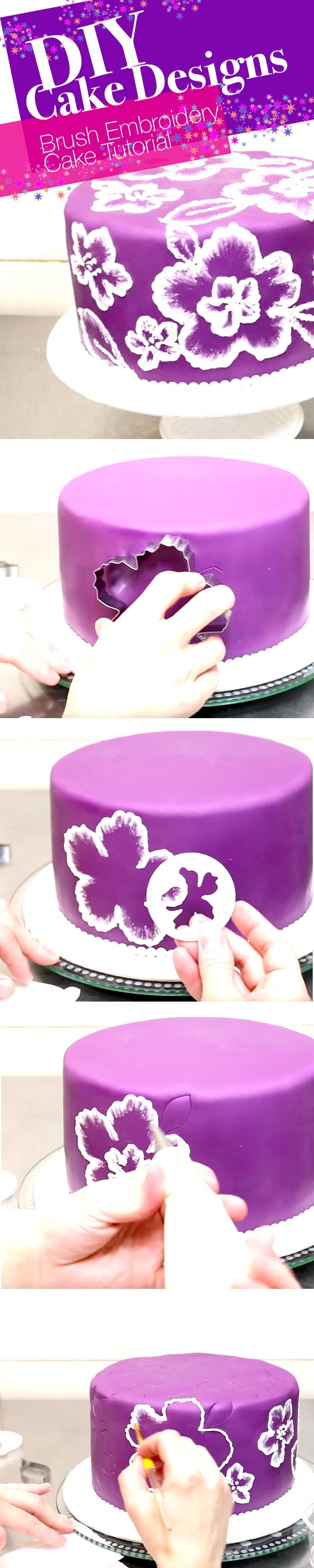 DIY Cake Designs: Brush Embroidery Cake Tutorial