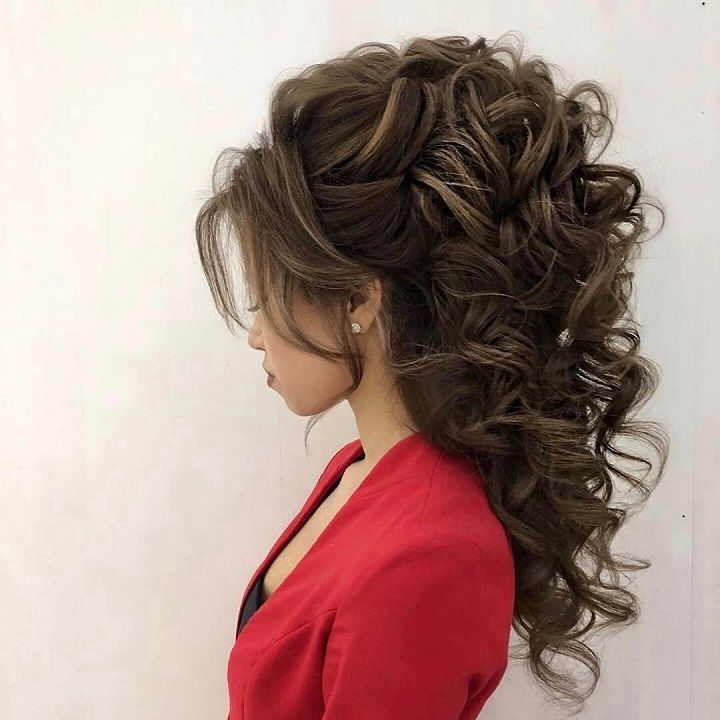 hair style for curly hair for best 25 partial updo ideas on half up half 4495
