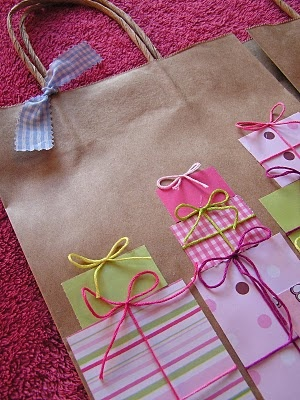 DIY gift bag, brown bag **Using Leftover paper scraps!