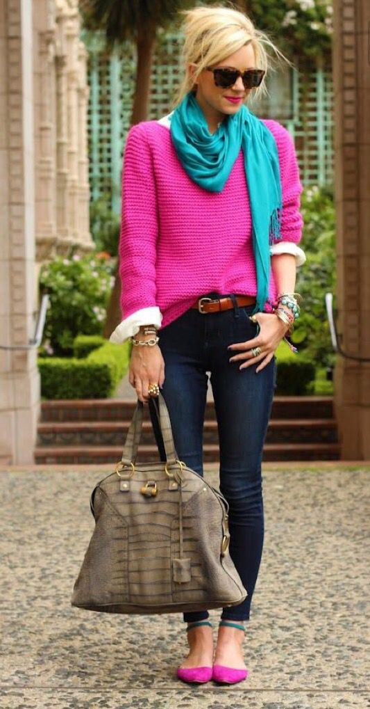 Love this entire outfit! Dark wash skinny jeans with a bright pink sweater. Love the pop of color with the teal scarf! The bracelets and bag are perfect. Stitch fix fall 2016.