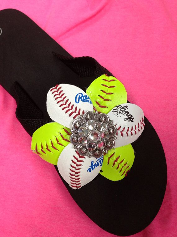 Hey, I found this really awesome Etsy listing at http://www.etsy.com/listing/152179137/baseballsoftball-flip-flops
