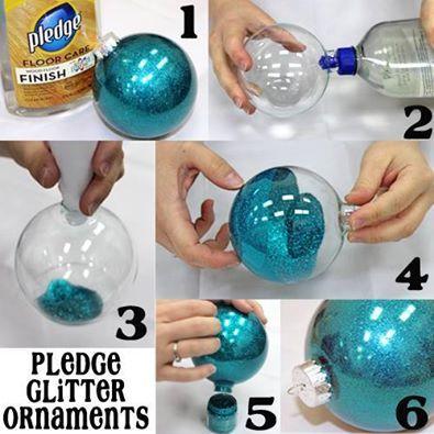 PLEDGE GLITTER ORNAMENTS: 1. Supplies: -Pledge Wood Floor Finish (Blue Cap!) -Clear Ornaments -Glitter -Funnel