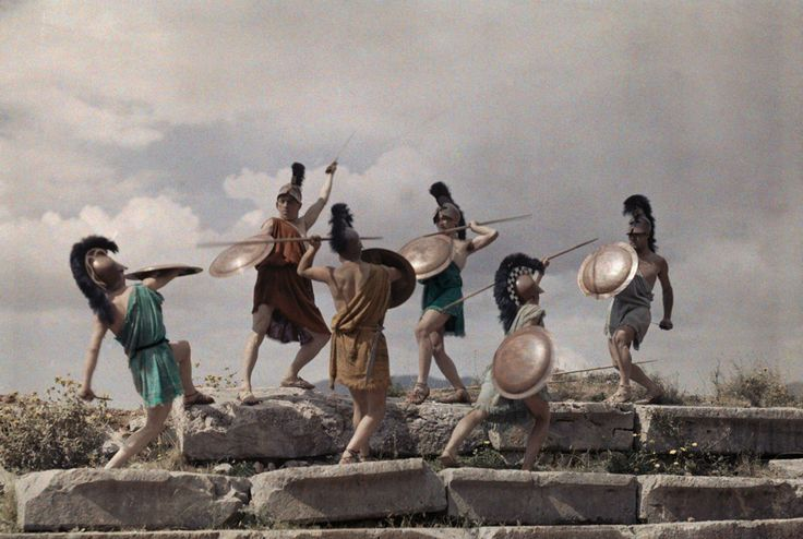 Members of a Salonica youth organization reenact a Macedonian battle, December 1930.Photograph by Maynard Owen Williams, National Geographic