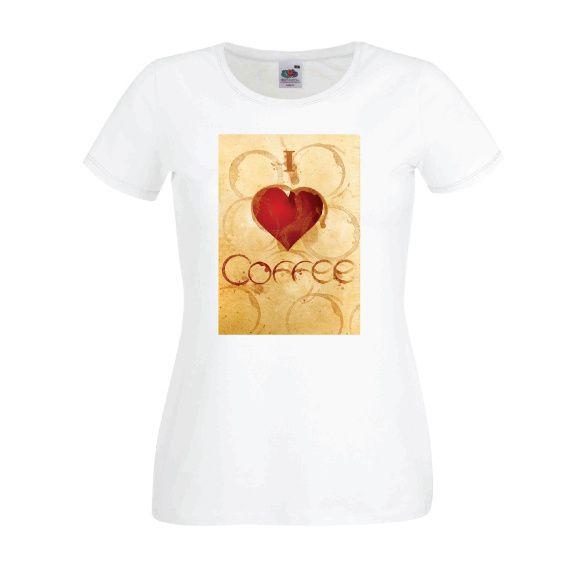 Dames | Lady-fit tshirt I love coffee (613820/780)