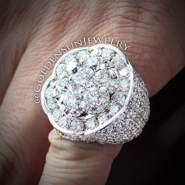 Men's diamond pinky ring featuring 14.68ct from goldensunjewelry