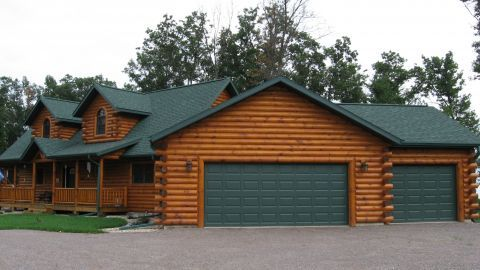 Angled away from front of home hmm attaching garage for Log cabin style garages
