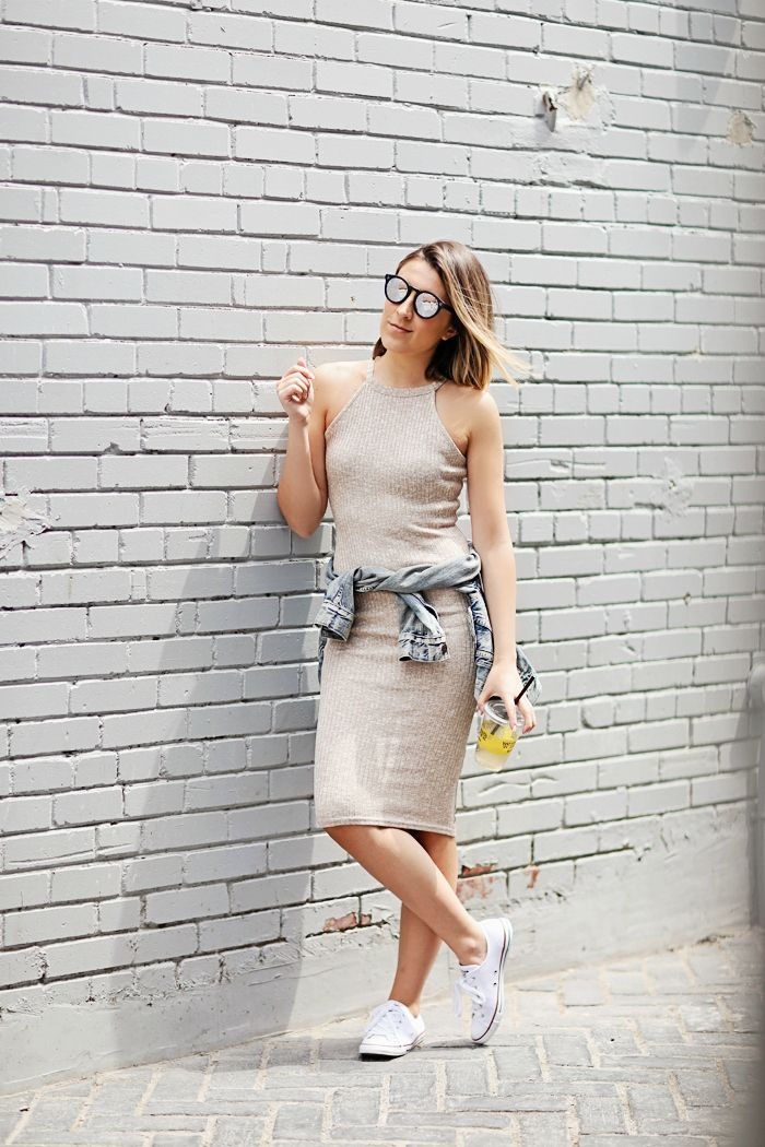 Stephanie Sterjovski looking rather cool in our ribbed midi dress #riverisland #bloggerstyle