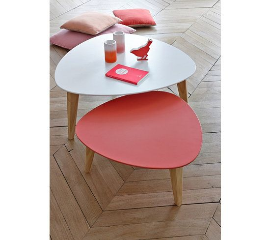 Tables Basses - Set 2 tables gigognes BETTY 404996 Blanc et corail