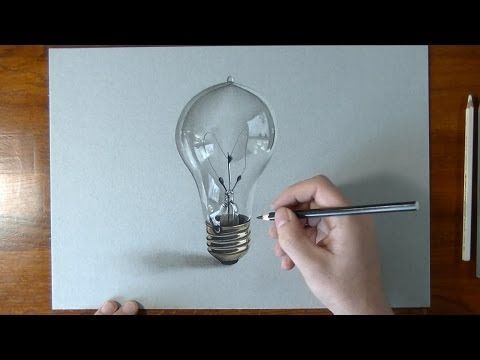 ▶ How I draw a lightbulb - realistic drawing - YouTube