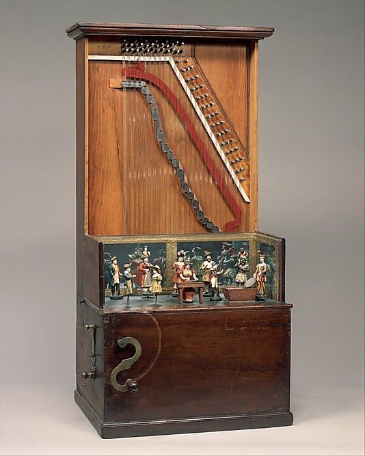 """1860 American (New York) Barrel piano at the Metropolitan Museum of Art, New York - From the curators' comments: """"When the crank is turned, pins on a rotating cylinder engage hammers that strike the strings, playing any of ten tunes, including """"Yankee Doodle."""" At the same time, a bell rings and the articulated figures move in time to the music. One figure deposits coins in a trough. Shown with front string cover panel removed."""""""