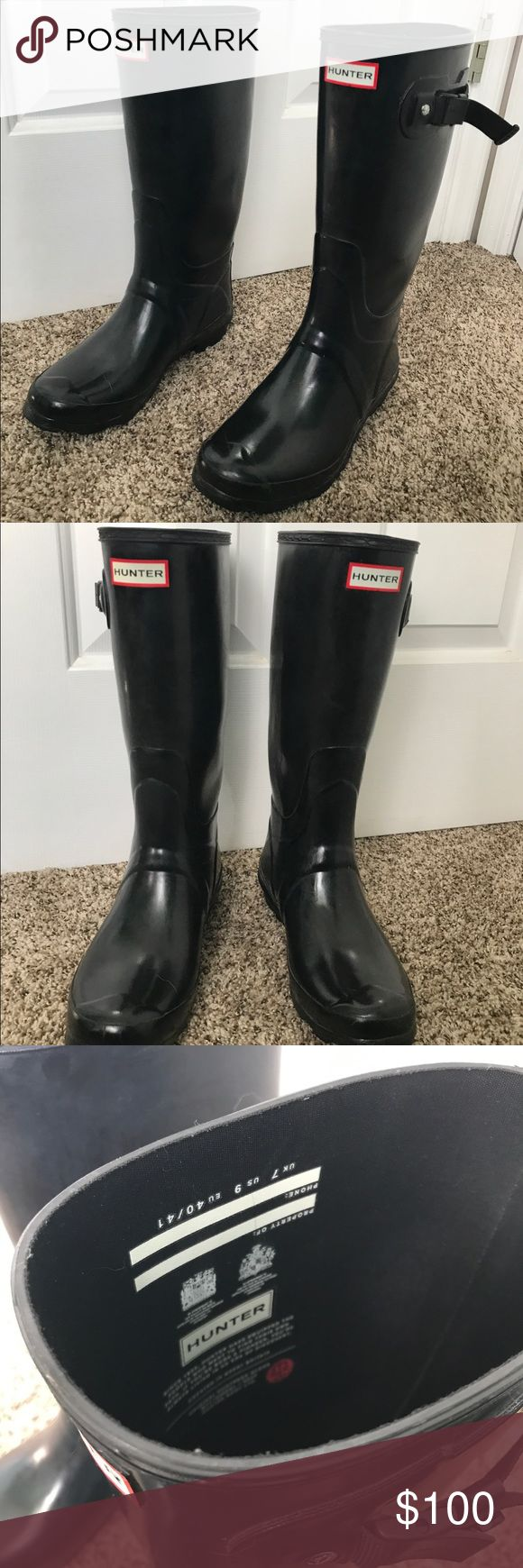 Hunter Original Black Boots These boots have been worn but they are still in great condition. They go up to the mid calf and they are also wide calf. Hunter Boots Shoes Winter & Rain Boots