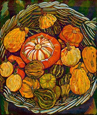 Myrtle Pizzey -  Turk's Turban & Gourds - relief print (lino) on Somerset Satin paper from St. Cuthbert's mill