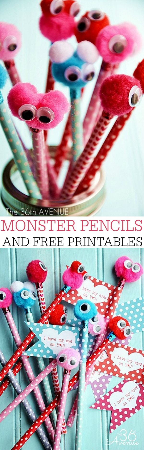 "Monster Pencil Tutorial and FREE ""I have my eyes on you"" PRINTABLES! Find it HERE : http://www.the36thavenue.com/?p=11162"