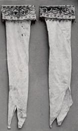 Silk stockings belonging to Queen Elizabeth I. The Queen had a special fondness for embroidered silk stockings and shoes.