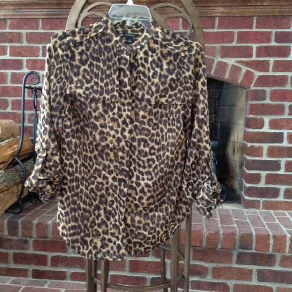 ANN TAYLOR LEOPARD BLOUSE Ann Taylor leopard blouse. Blouse is like brand new. Barely worn. Blouse is shear but not too shear to wear without a camisole. Ann Taylor Tops Blouses