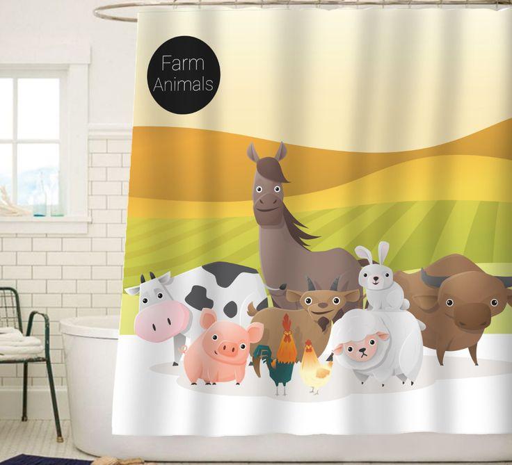 Sunlit Farm Animals Cartoon Shower Curtain#sunlit#showercurtain #bathroomdecor#art#background
