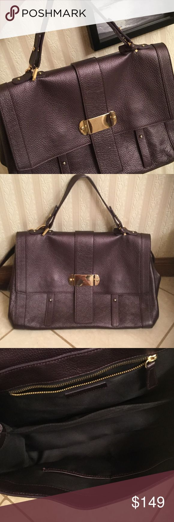 Varriale Italy leather bag plum varriale italy pebbled leather plum Varriale Italy Bags Satchels