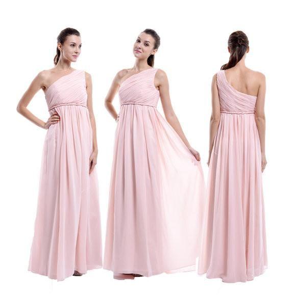 pink bridesmaid dress,long bridesmaid dress,one shoulder bridesmaid dress,chiffon bridesmaid dress,BD807 #bridesmaiddress#fashion#promdress#eveningdress#promgowns#cocktaildress