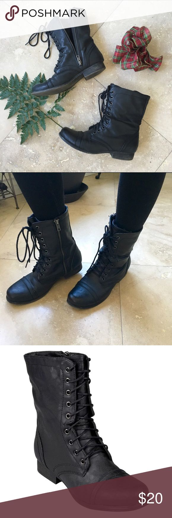 Madden Girl Lace-Up Ankle Combat Boots These are the most comfortable & easy to wear combat boot I've ever purchased. The inside zipper allows me not to have to unlace each time I wear them. The fit is true to size. Excellent used condition. Madden Girl Shoes Ankle Boots & Booties