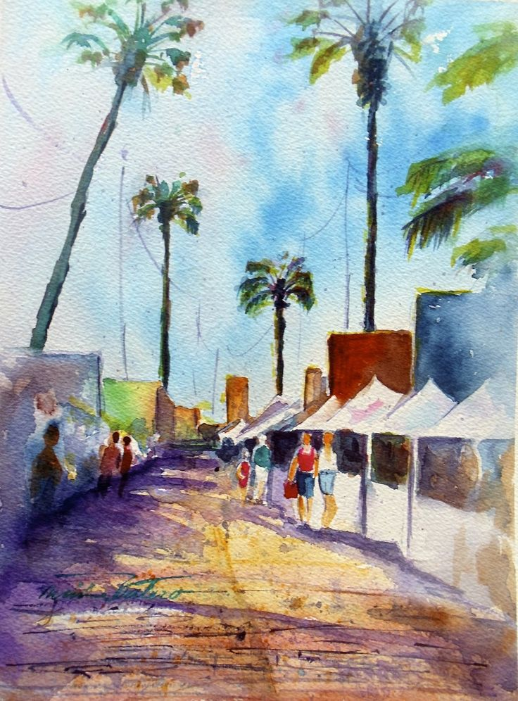 "Acuarela de Minnie Valero ""ARICA, CHILE, watercolor"" del año 2013. Visite su galeria virtual en blog http://minnievalero.blogspot.cl/"