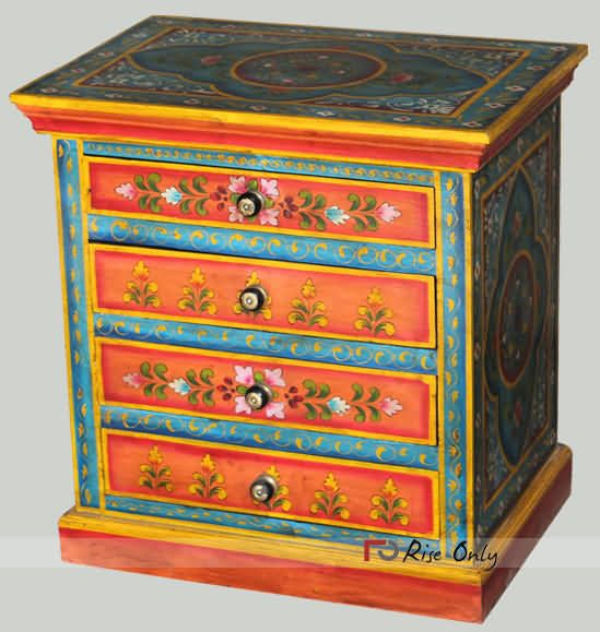 We are painted furniture manufacturer and exporters india. This is handmade  painted bedside chest of