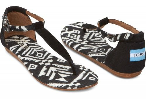 Just bought me some of these bad boys... LOVE t-strap sandles. Black Woven Women's Playa Sandals | TOMS.com